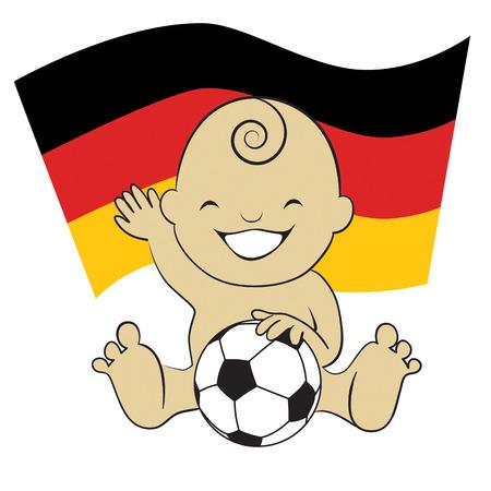 Baby Soccer Boy with German Flag Background  cartoon illustration Vector