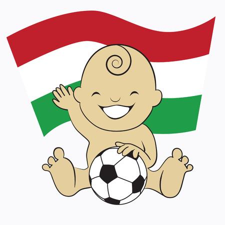 Baby Soccer Boy with Hungary Flag Background  cartoon illustration Vector