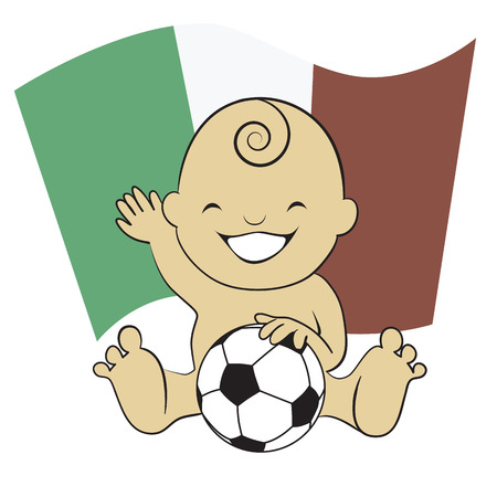 Baby Soccer Boy with Mexico Flag Background  cartoon illustration ,  Vector