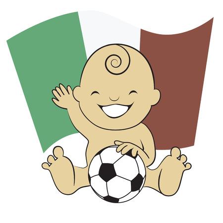 bandera mexico: Muchacho de beb� del f�tbol con la bandera de M�xico de fondo de dibujos animados,