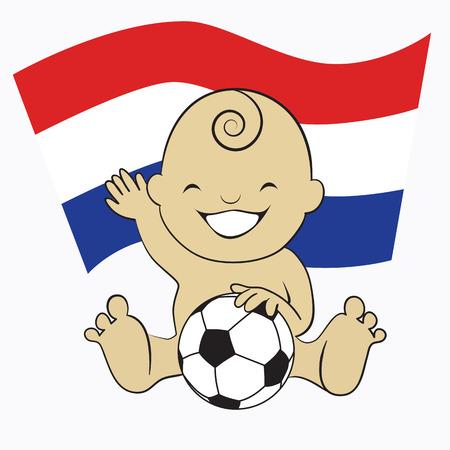 Baby Soccer Boy with Netherlands Flag Background  cartoon illustration Vector