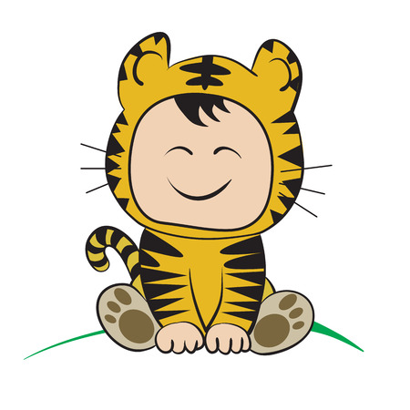 only baby girls: Baby in tiger  Costume  : done in a hand-drawn vector illustration style