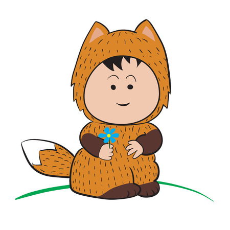 Baby in Fox Costume  : done in a hand-drawn vector illustration style