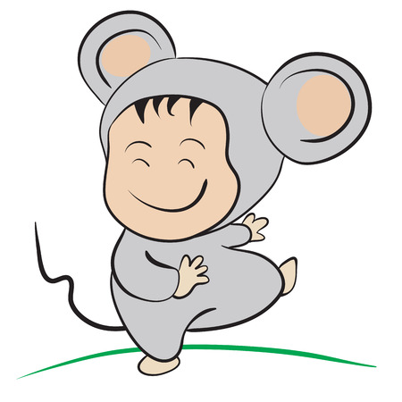only baby girls: Baby in Mouse Costume  : done in a hand-drawn vector illustration style