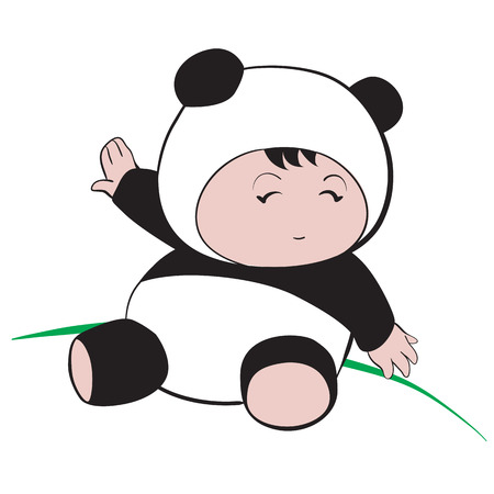 only baby girls: Baby in Panda Costume  : done in a hand-drawn vector illustration style