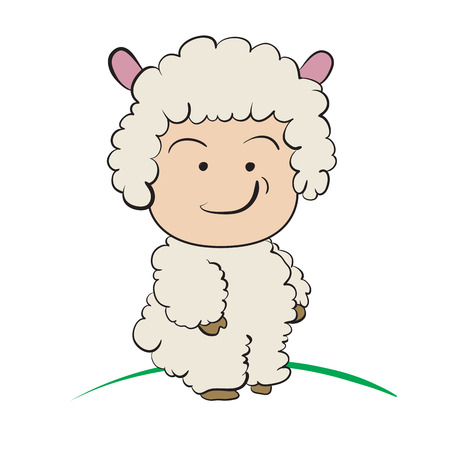 only baby girls: Baby in Sheep  Costume  : done in a hand-drawn vector illustration style