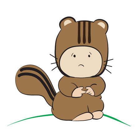 only baby girls: Baby in Squirrel Costume  : done in a hand-drawn vector illustration style