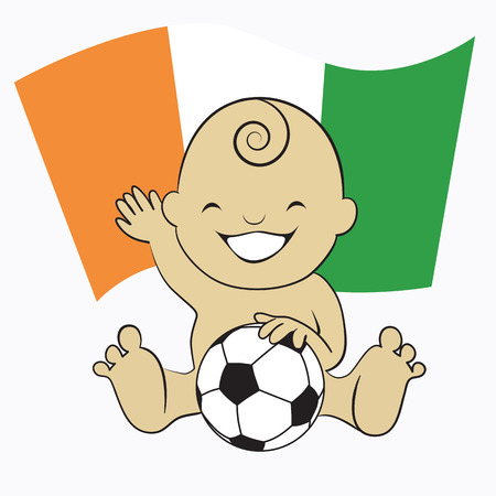 Baby Soccer Boy with Cote DIvoire Flag Background :cartoon illustration Vector