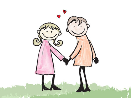 happy lover couple dating doodle cartoon illustration  Vector