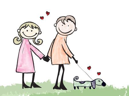 enamorados caricatura: feliz pareja amante de perro y de citas de dibujos animados