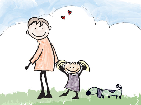 one parent: Father,daughter and dog cartoon illustration  Illustration