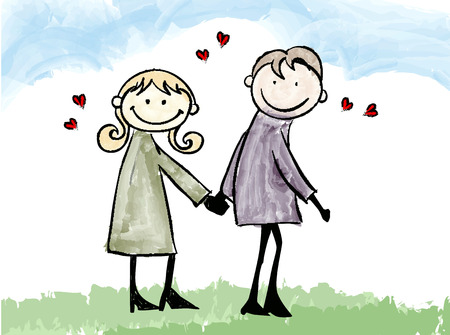 happy lover couple dating cartoon illustration  Vector