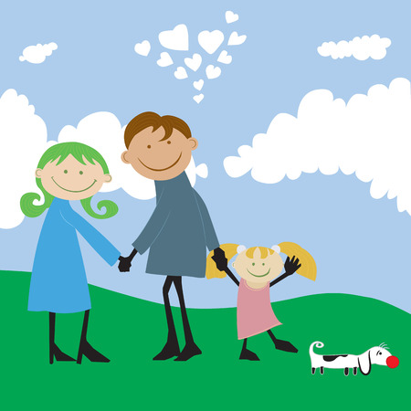 one parent: happy family spending time outdoors.cartoon illustration  no gradients. Illustration