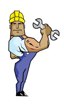 강한 작업자 들고하는 사람 (남자) 스패너. 어도비 일러스트 레이터로 만들었습니다.