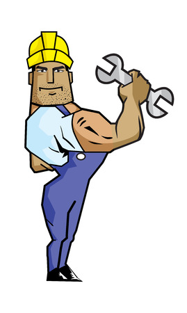 Strong Worker Man Holding Spanner. Created with adobe illustrator. 向量圖像