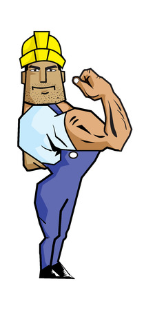 labor strong: Strong Worker showing biceps (Labor Day).  Created with adobe illustrator