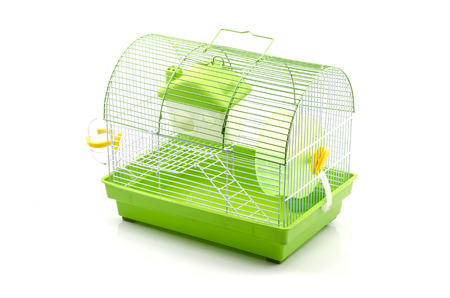 A yellow box in a small yellow hamster cage