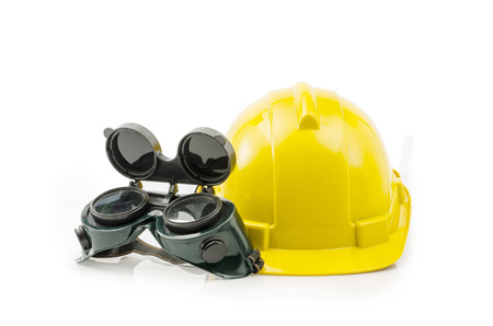 protective eyewear: Yellow construction helmet and Protective Eyewear