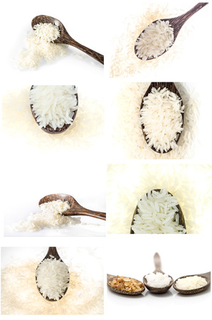 Collection of Rice grain in wooden spoon on white background photo