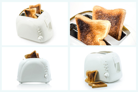 burnt toast: Collection of Burnt Toast  in Toaster on white Stock Photo