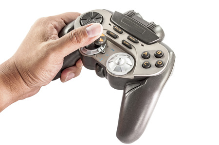 close up of video game controller in hand isolated : clipping path photo