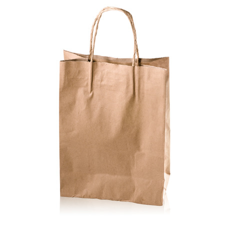 brown kraft paper bag with copy space on a white background: Clipping path
