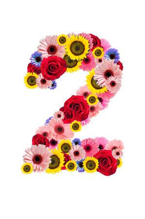 Ordinal: Nummer Zwei 2, Blume-Alphabet isoliert auf wei�.