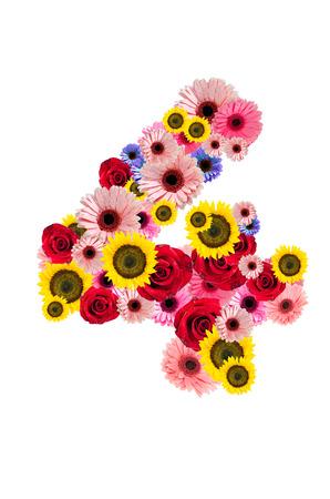 Ordinal: Nummer vier, 4 Blume-Alphabet isoliert auf wei�.