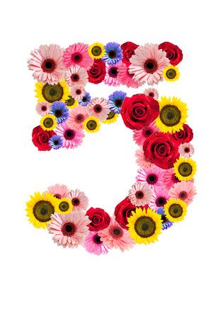 Ordinal: Nummer F�nf 5, Blume-Alphabet isoliert auf wei�.