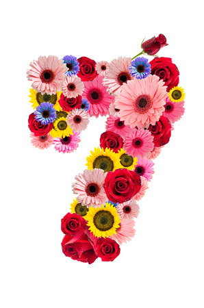 ordinal: Number Seven  7, flower alphabet isolated on white.