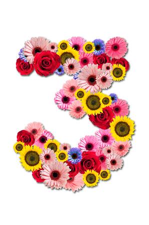 ordinal: Number Three 3, flower alphabet isolated on white. Stock Photo
