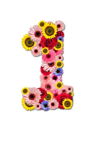 Ordinal: Number One 1, Blume-Alphabet isoliert auf wei�.