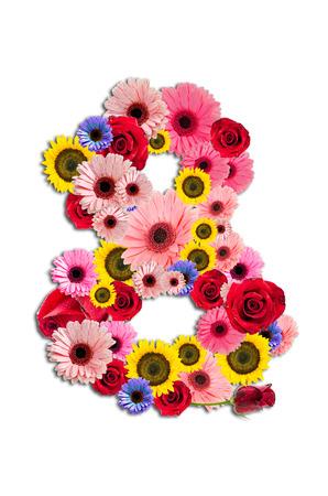Ordinal: Number Eight 8, Blume-Alphabet isoliert auf wei�.