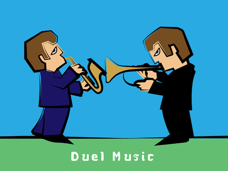 duel: Jazz band with a Trumpet player Duel Saxophonist