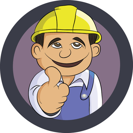 friendly Engineer smiling thumbs up and wearing uniform Vector