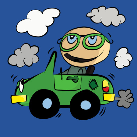 vapor trail: Polluting Environment Car Smog : Cartoon