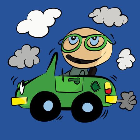 vapor trail: Polluting Environment Car Smog : Cartoon