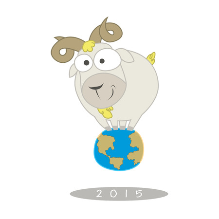 astrologist: Chinese Zodiac Sign Cartoon  Illustration of Funny Goat Stand on Earth  Vector