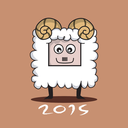 Chinese Zodiac Sign Cartoon Illustration of Funny Goat  Vector Vector