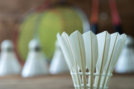 Macro shot  Set of badminton. Paddle and the shuttlecock. very shallow depth of field photo