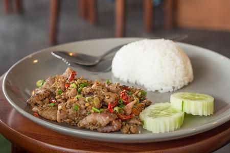 Basil Fried Rice with Pork, Thai food photo