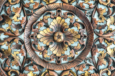 tooled leather: Beautiful Thailand Architecture, Carved pattern on wood, element of decor