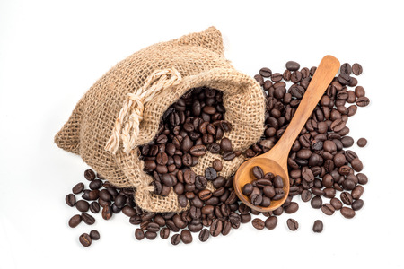 Studio Shot of Coffee beans in burlap sack  Coffee Beans photo