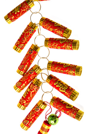 fire crackers: fire Crackers for chinese new year greeting Stock Photo