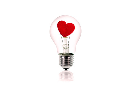light hearted: Studio Shot of heart inside the light bulb.Love concept