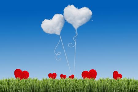 sunny day: Campo verde bajo el cielo azul con forma de coraz�n en �l. Concepto de amor Foto de archivo