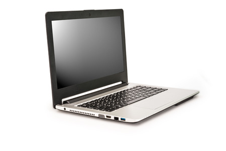 Laptop isolated on white background,Clipping path for insert Photo photo