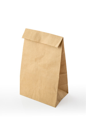 Recycle Brown Paper Bag with Copy Space on White ,Clipping path included photo