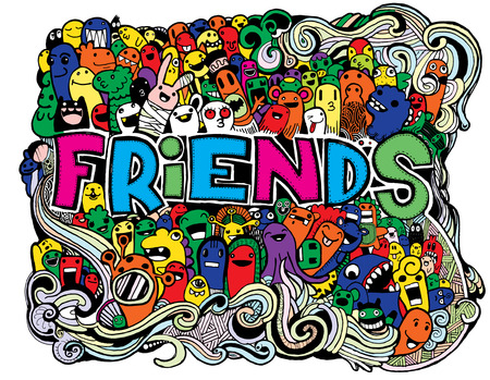 teammate: Hipster Doodle Monster Collage Background,Friends and friendly relationship social Illustration