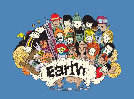Hipster Doodle Mensen collage achtergrond, Vrienden en vriendschappelijke relatie sociale
